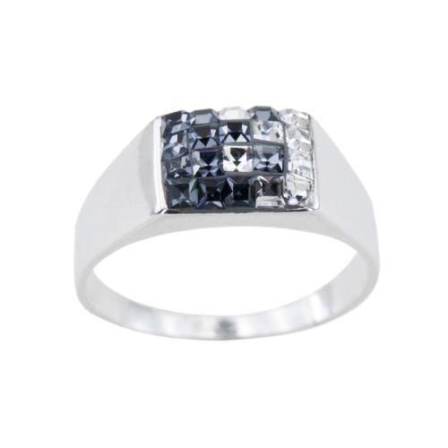 Сребърен Пръстен С Кристали От Swarovski® SP725 Steel and Crystal квадрати