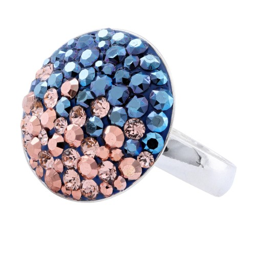 Сребърен пръстен с кристали от Swarovski® SP601 Metallic Rose Gold