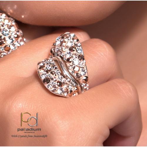 Сребърен пръстен с кристали от Swarovski®  SP663 Peach Gold