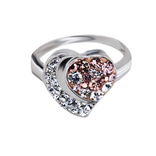 Сребърен пръстен с кристали от Swarovski® SP728 Peach Gold