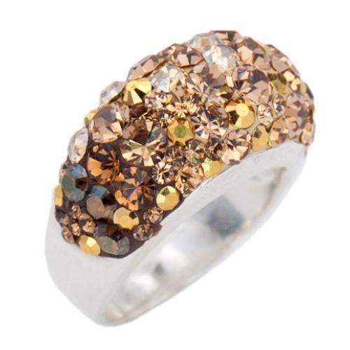 Сребърен пръстен с кристали от Swarovski®  SP653 Gold Topaz