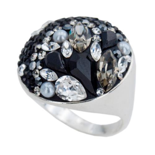 Сребърен пръстен с кристали от Swarovski®  SP704 Black Marquise