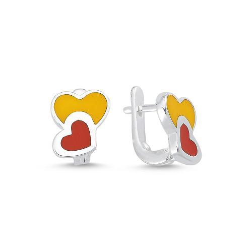 """Детски сребърни обеци """"Две сърца"""" - жълто и червено"""