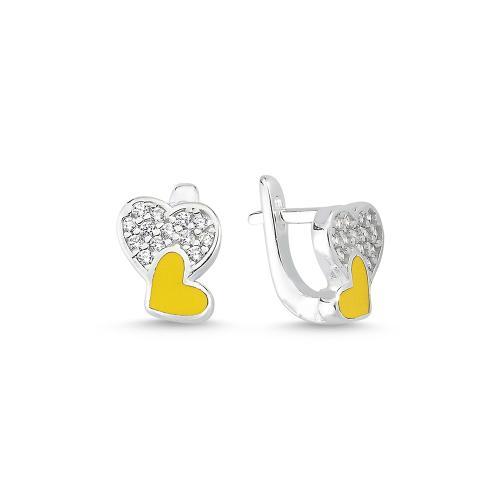 """Детски сребърни обеци """"Две сърца"""" - жълти"""